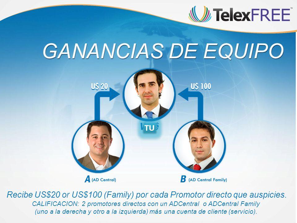 GANANCIAS DE EQUIPO Recibe US$20 or US$100 (Family) por cada Promotor directo que auspicies. CALIFICACION: 2 promotores directos con un ADCentral o AD
