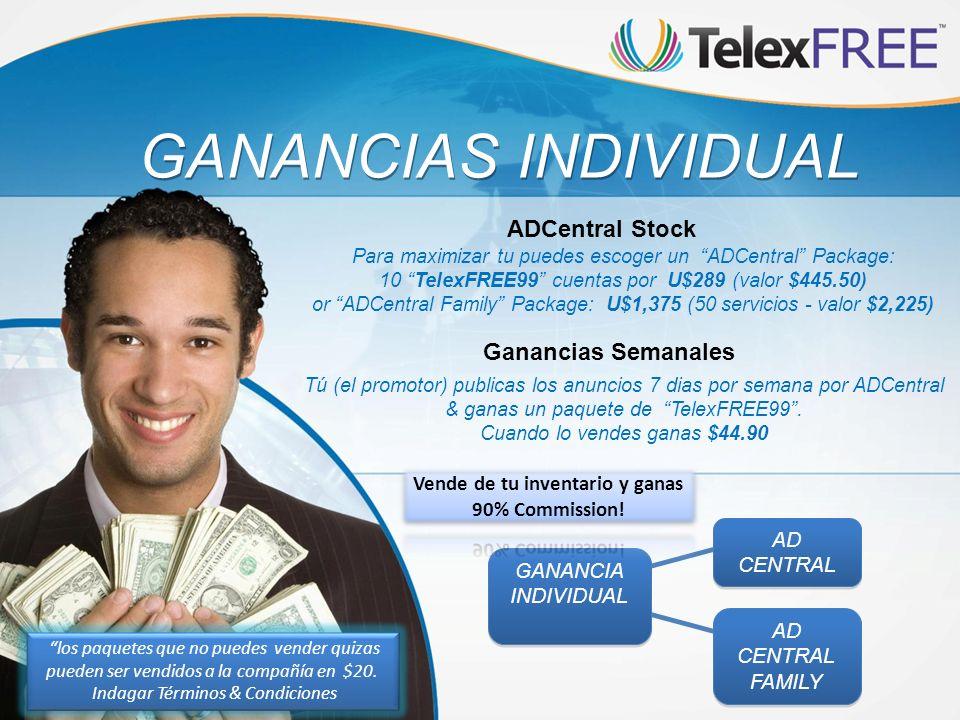 GANANCIAS INDIVIDUAL Tú (el promotor) publicas los anuncios 7 dias por semana por ADCentral & ganas un paquete de TelexFREE99. Cuando lo vendes ganas