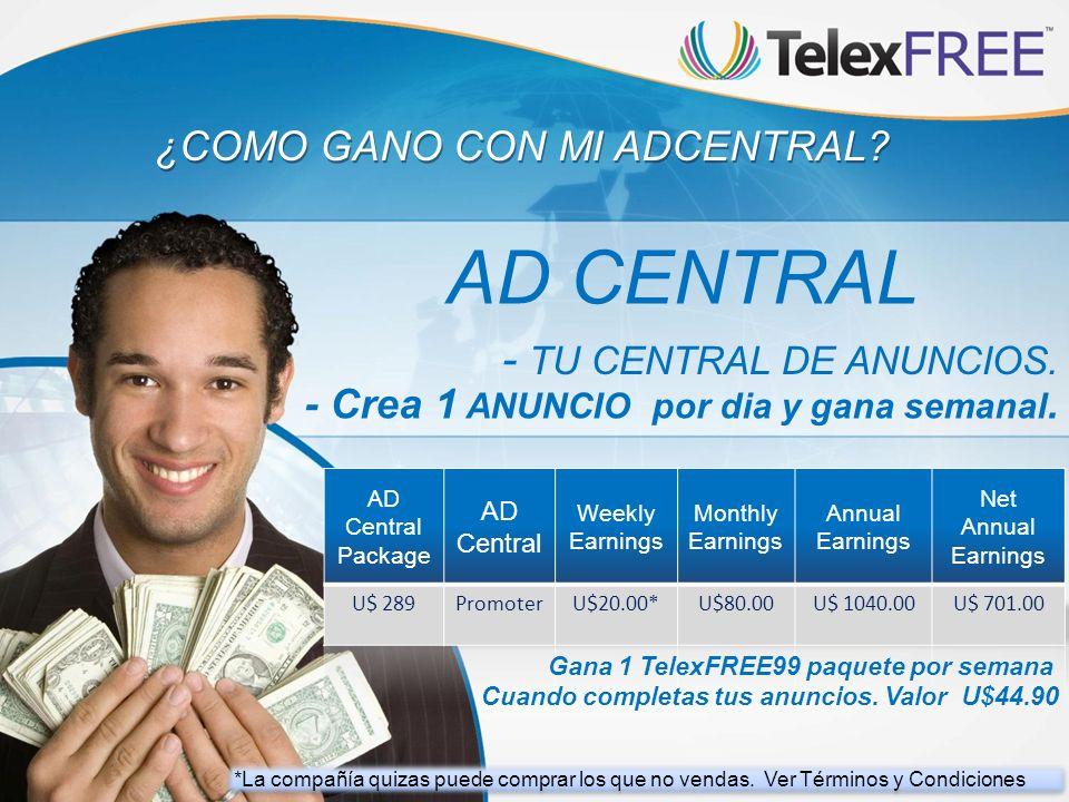 ¿COMO GANO CON MI ADCENTRAL? AD CENTRAL - TU CENTRAL DE ANUNCIOS. - Crea 1 ANUNCIO por dia y gana semanal. Gana 1 TelexFREE99 paquete por semana Cuand