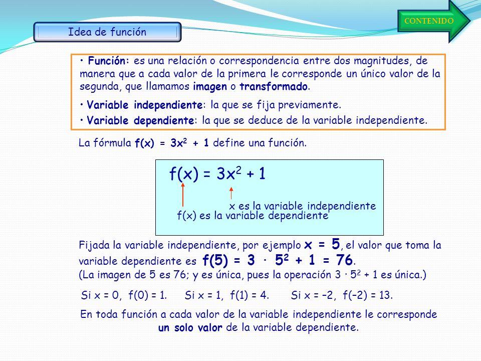 Consideremos otra relación dada por una fórmula: y = 2x +1 Si x vale -2, y = 2·(-2) +1 = -3. Par (-2, -3) Si x vale -1, y = 2·(-1) +1 = -1. Par (-1, -