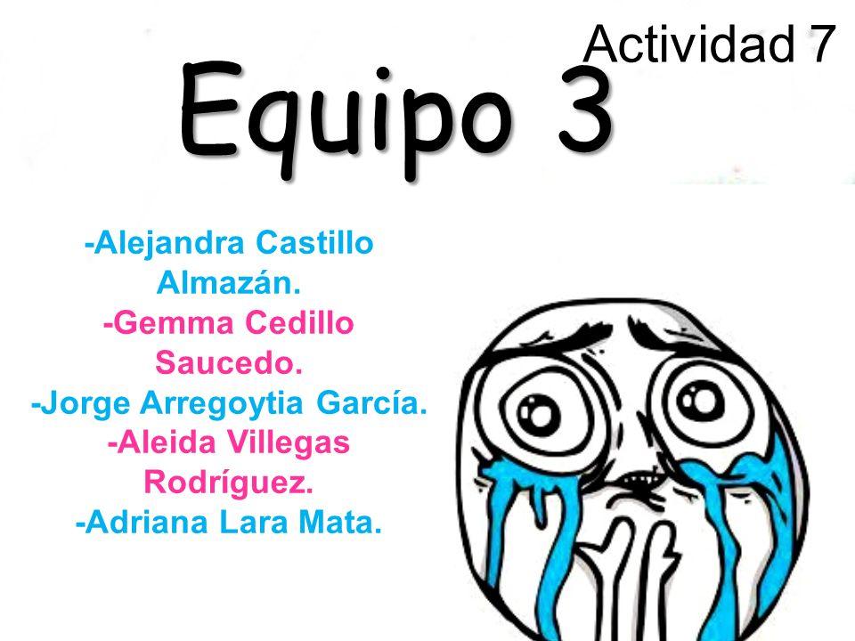 Actividad 7 Equipo 3 -Alejandra Castillo Almazán. -Gemma Cedillo Saucedo.