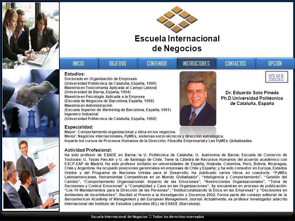 Escuela Internacional de Negocios Todos los derechos reservados OBJETIVO CONTENIDO INSTRUCTORES CONTACTOS INICIO OPCIÓN Escuela Internacional de Negoc