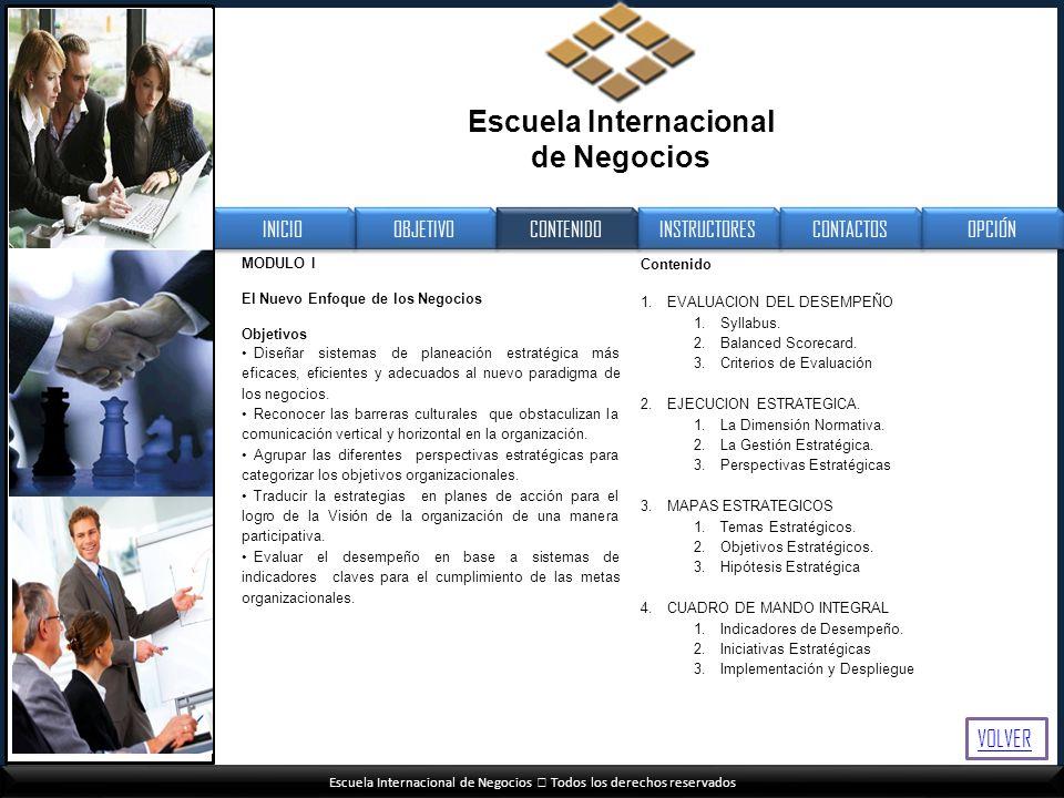 Escuela Internacional de Negocios Todos los derechos reservados MODULO I El Nuevo Enfoque de los Negocios Objetivos Diseñar sistemas de planeación est