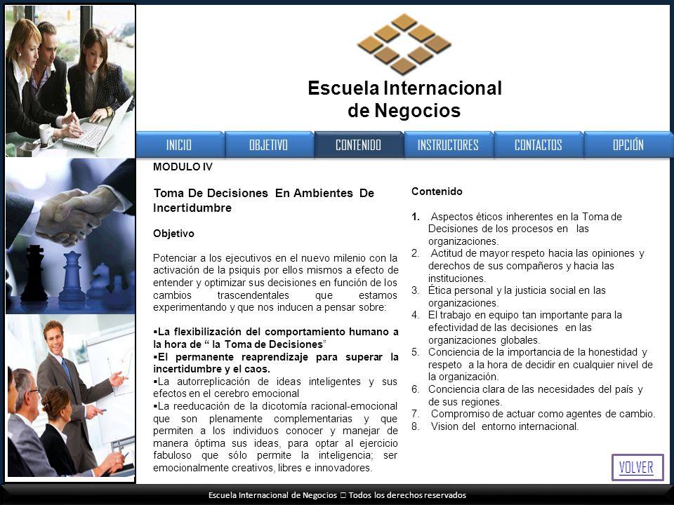 Escuela Internacional de Negocios Todos los derechos reservados MODULO IV Toma De Decisiones En Ambientes De Incertidumbre Objetivo Potenciar a los ej