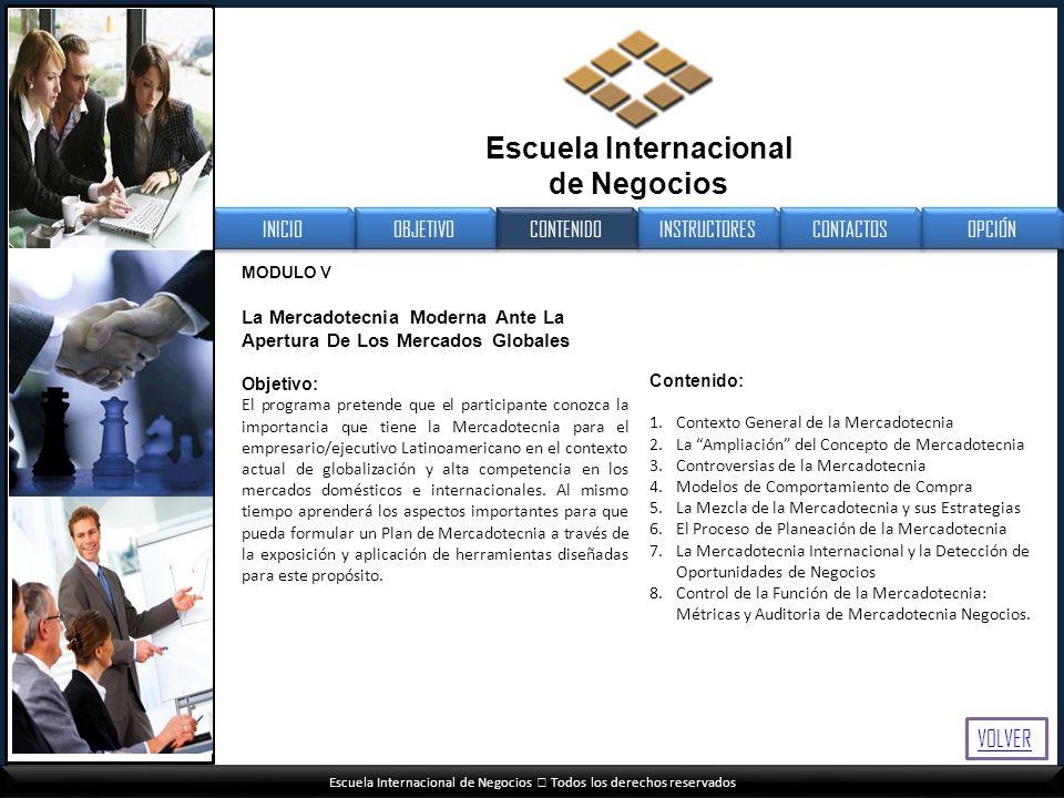 Escuela Internacional de Negocios Todos los derechos reservados MODULO V La Mercadotecnia Moderna Ante La Apertura De Los Mercados Globales Objetivo: