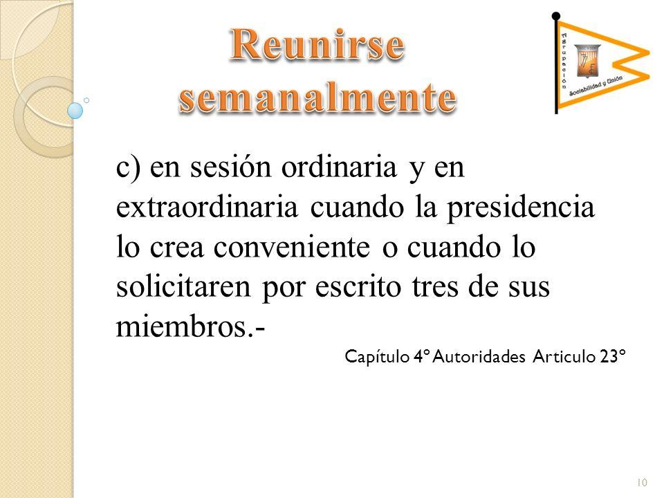 c) en sesión ordinaria y en extraordinaria cuando la presidencia lo crea conveniente o cuando lo solicitaren por escrito tres de sus miembros.- Capítulo 4º Autoridades Articulo 23º 10