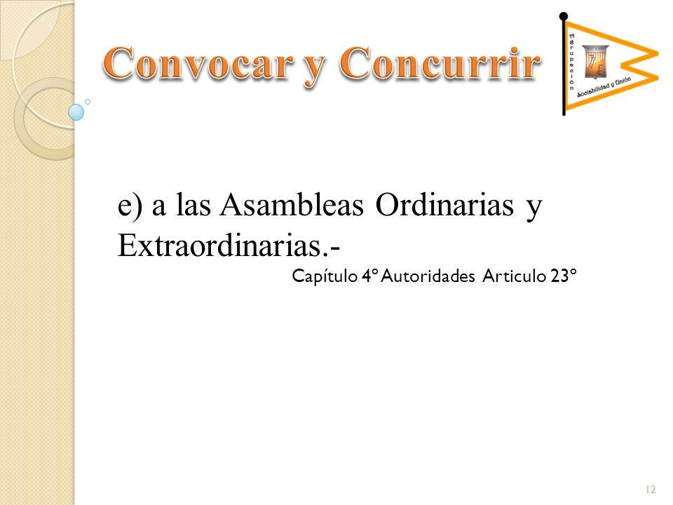 e) a las Asambleas Ordinarias y Extraordinarias.- Capítulo 4º Autoridades Articulo 23º 12