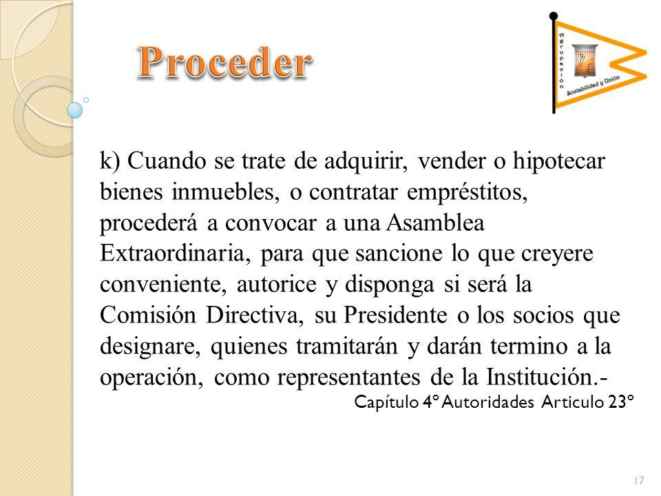 k) Cuando se trate de adquirir, vender o hipotecar bienes inmuebles, o contratar empréstitos, procederá a convocar a una Asamblea Extraordinaria, para