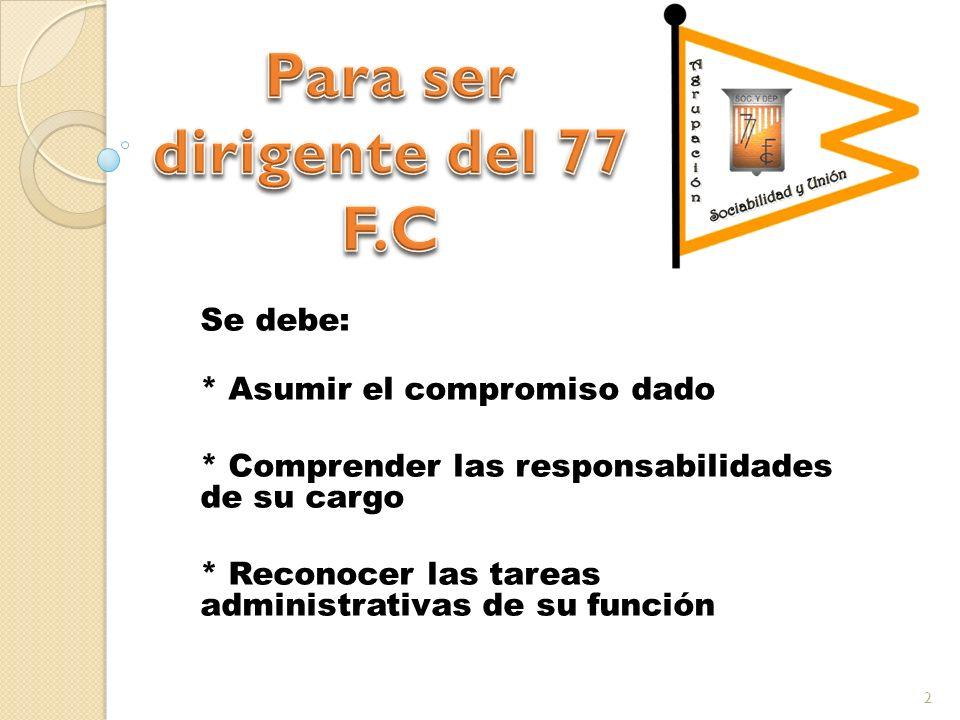 Se debe: * Asumir el compromiso dado * Comprender las responsabilidades de su cargo * Reconocer las tareas administrativas de su función 2