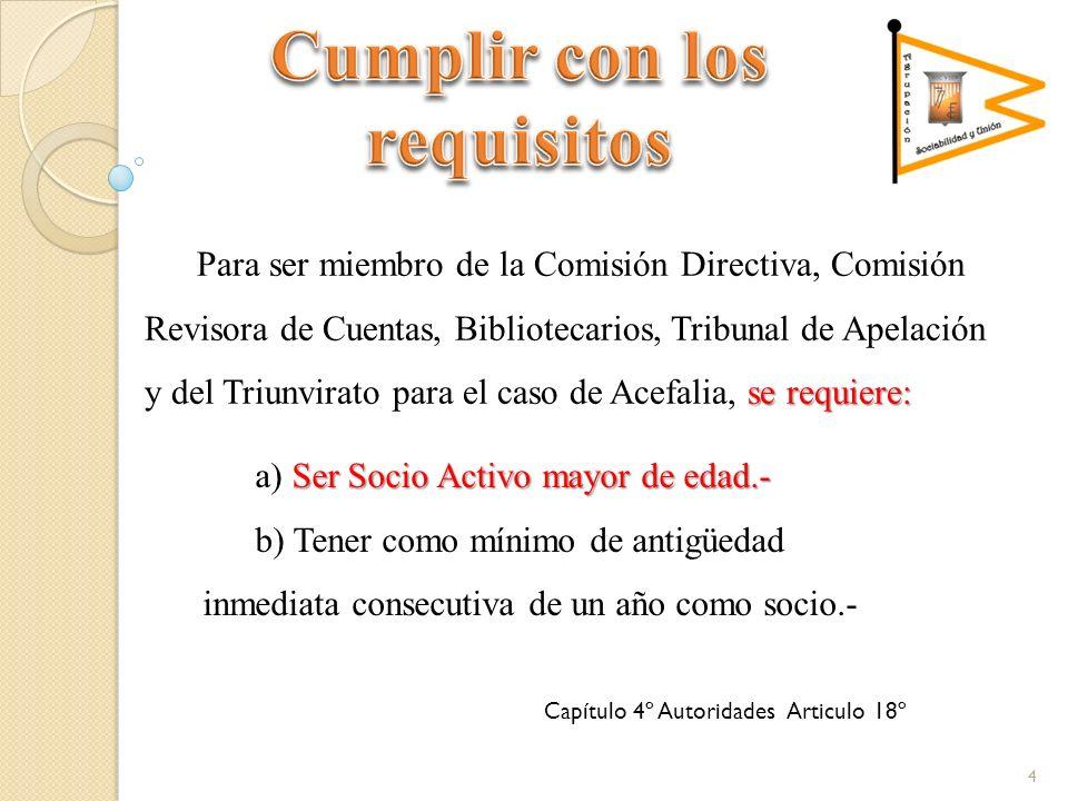 se requiere: Para ser miembro de la Comisión Directiva, Comisión Revisora de Cuentas, Bibliotecarios, Tribunal de Apelación y del Triunvirato para el