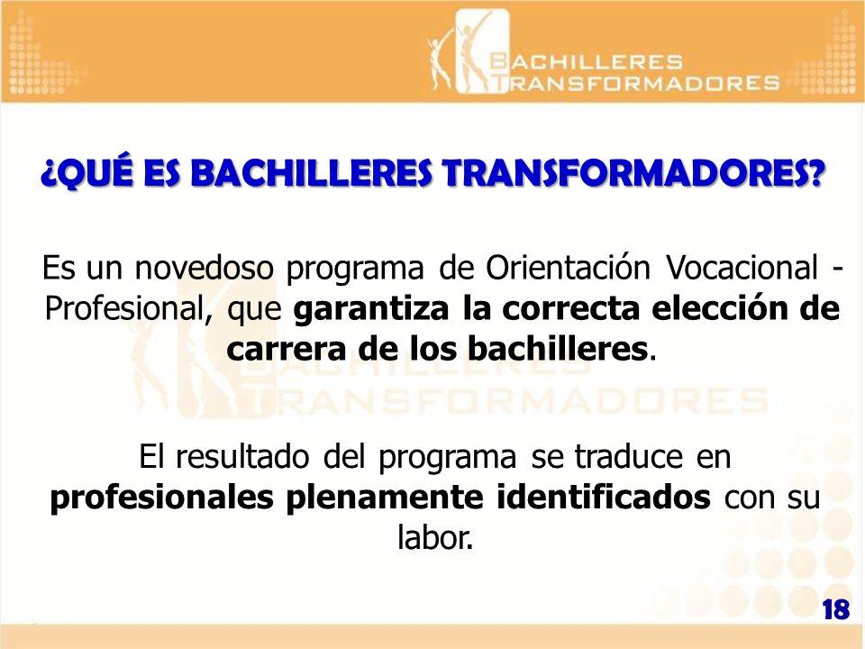 ¿QUÉ ES BACHILLERES TRANSFORMADORES? Es un novedoso programa de Orientación Vocacional - Profesional, que garantiza la correcta elección de carrera de