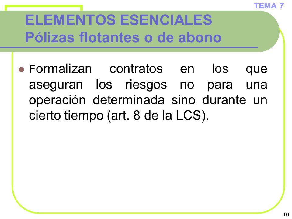 10 ELEMENTOS ESENCIALES Pólizas flotantes o de abono F ormalizan contratos en los que aseguran los riesgos no para una operación determinada sino dura