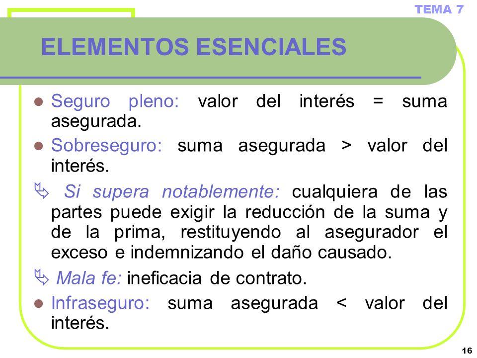 16 ELEMENTOS ESENCIALES Seguro pleno: valor del interés = suma asegurada. Sobreseguro: suma asegurada > valor del interés. Si supera notablemente: cua