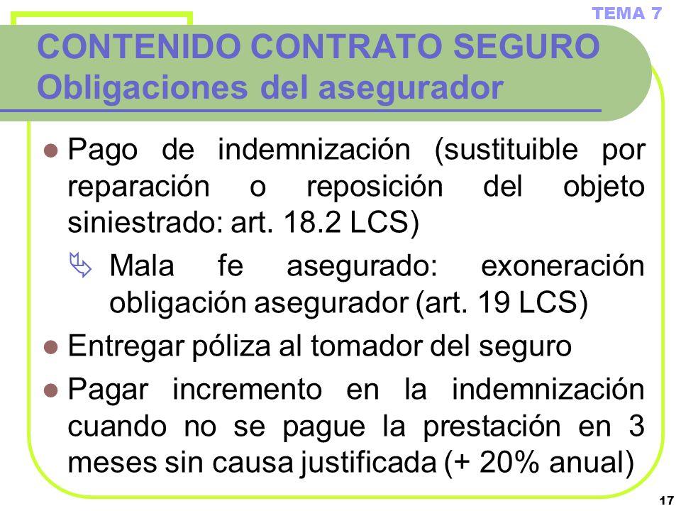 17 CONTENIDO CONTRATO SEGURO Obligaciones del asegurador Pago de indemnización (sustituible por reparación o reposición del objeto siniestrado: art. 1
