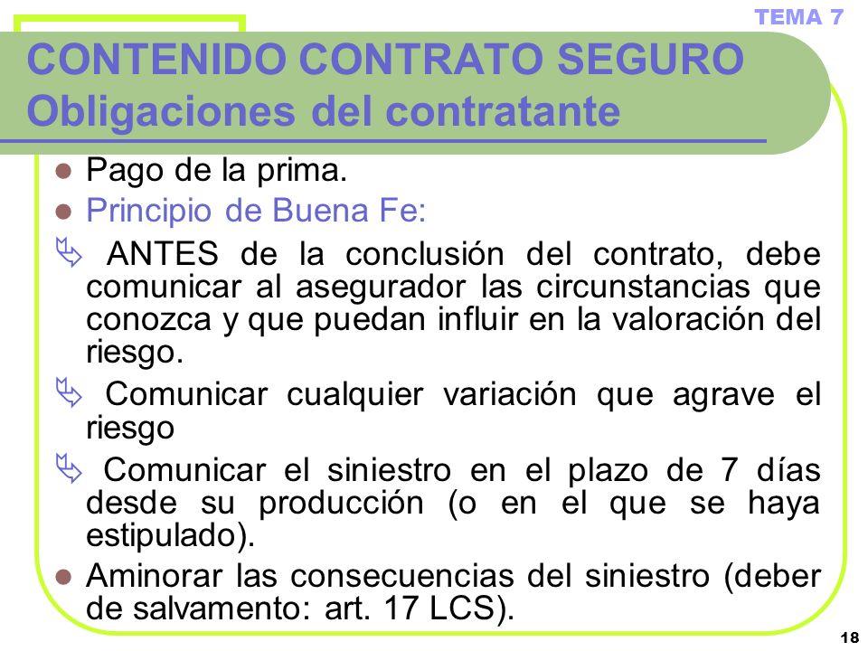 18 CONTENIDO CONTRATO SEGURO Obligaciones del contratante Pago de la prima. Principio de Buena Fe: ANTES de la conclusión del contrato, debe comunicar