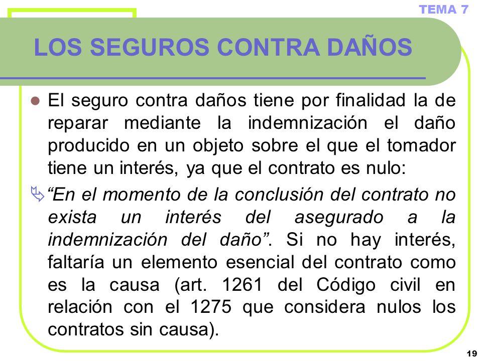 19 LOS SEGUROS CONTRA DAÑOS El seguro contra daños tiene por finalidad la de reparar mediante la indemnización el daño producido en un objeto sobre el