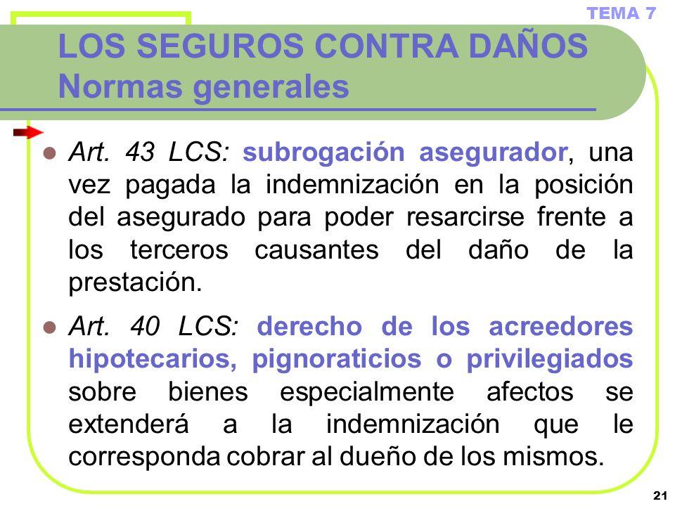 21 LOS SEGUROS CONTRA DAÑOS Normas generales Art. 43 LCS: subrogación asegurador, una vez pagada la indemnización en la posición del asegurado para po