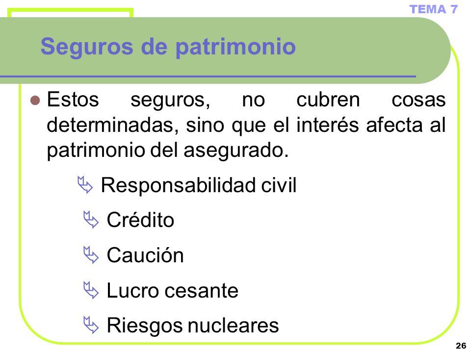 26 Seguros de patrimonio Estos seguros, no cubren cosas determinadas, sino que el interés afecta al patrimonio del asegurado. Responsabilidad civil Cr