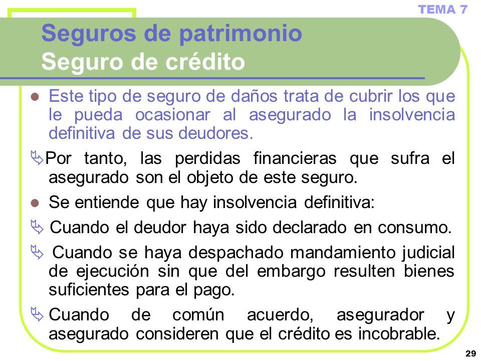 29 Seguros de patrimonio Seguro de crédito Este tipo de seguro de daños trata de cubrir los que le pueda ocasionar al asegurado la insolvencia definit