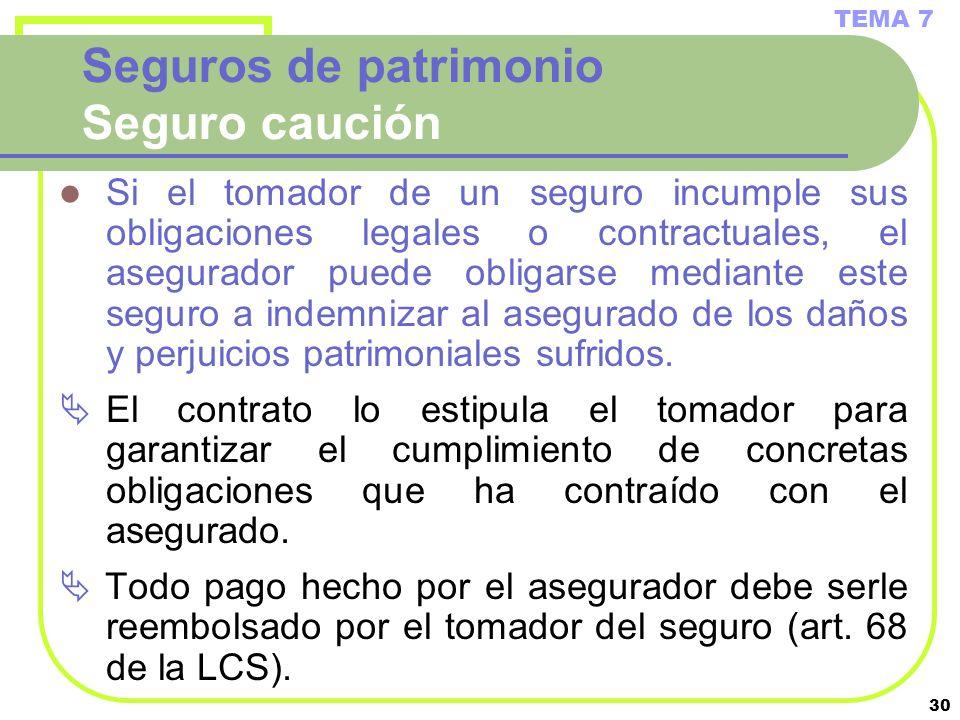30 Seguros de patrimonio Seguro caución Si el tomador de un seguro incumple sus obligaciones legales o contractuales, el asegurador puede obligarse me