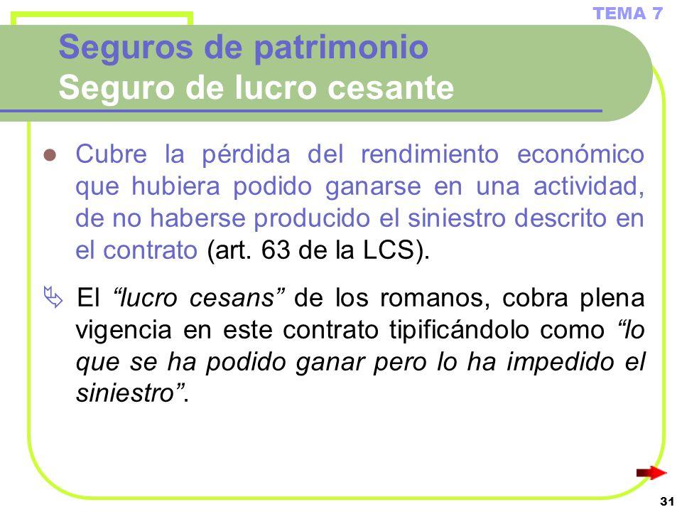 31 Seguros de patrimonio Seguro de lucro cesante Cubre la pérdida del rendimiento económico que hubiera podido ganarse en una actividad, de no haberse