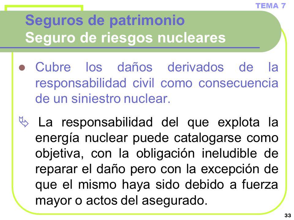 33 Seguros de patrimonio Seguro de riesgos nucleares Cubre los daños derivados de la responsabilidad civil como consecuencia de un siniestro nuclear.