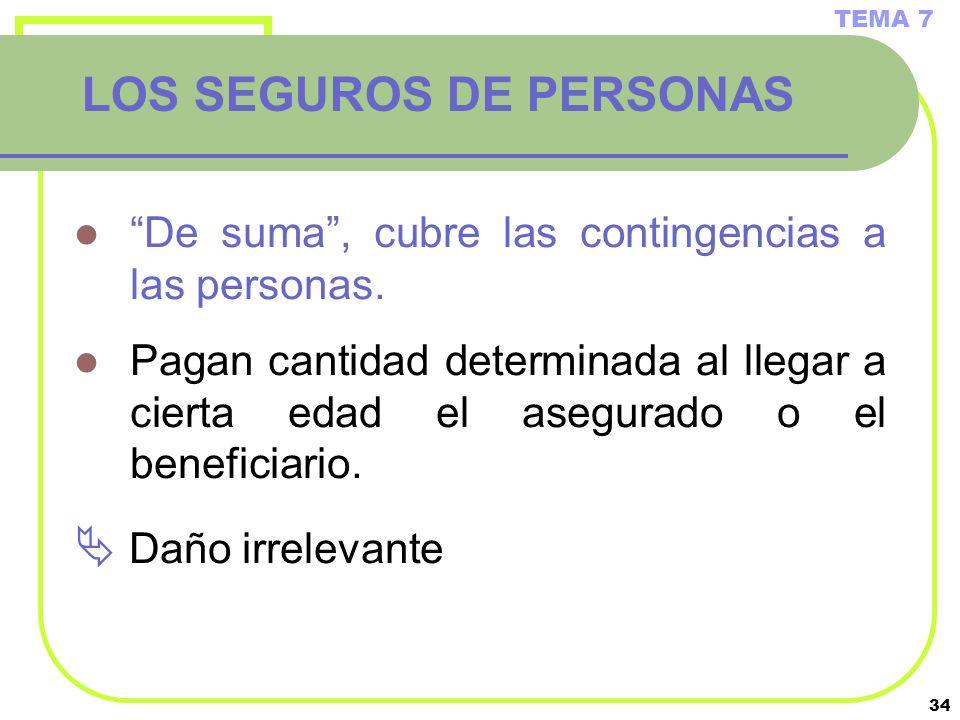 34 LOS SEGUROS DE PERSONAS De suma, cubre las contingencias a las personas. Pagan cantidad determinada al llegar a cierta edad el asegurado o el benef