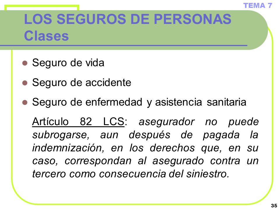 35 LOS SEGUROS DE PERSONAS Clases Seguro de vida Seguro de accidente Seguro de enfermedad y asistencia sanitaria Artículo 82 LCS: asegurador no puede