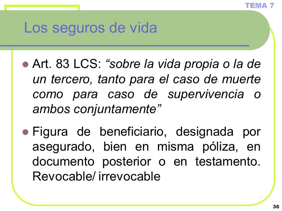 36 Los seguros de vida Art. 83 LCS: sobre la vida propia o la de un tercero, tanto para el caso de muerte como para caso de supervivencia o ambos conj