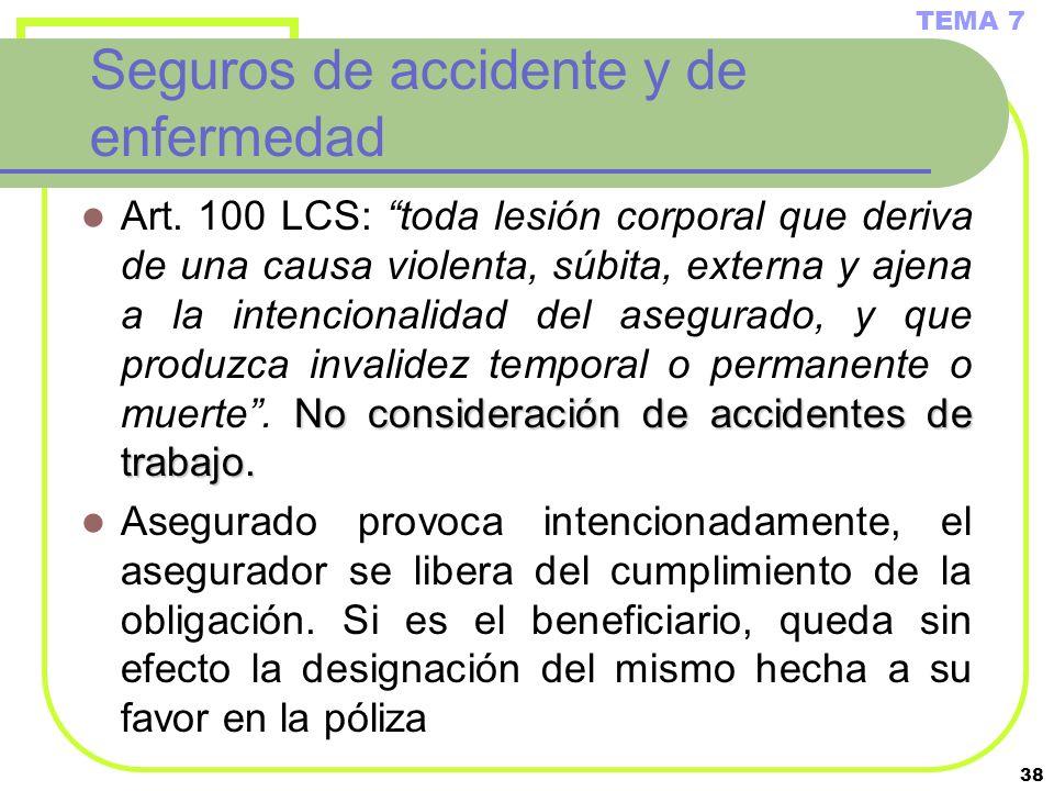 38 Seguros de accidente y de enfermedad No consideración de accidentes de trabajo. Art. 100 LCS: toda lesión corporal que deriva de una causa violenta