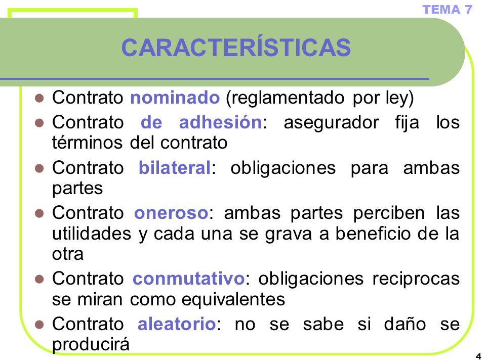 4 CARACTERÍSTICAS Contrato nominado (reglamentado por ley) Contrato de adhesión: asegurador fija los términos del contrato Contrato bilateral: obligac