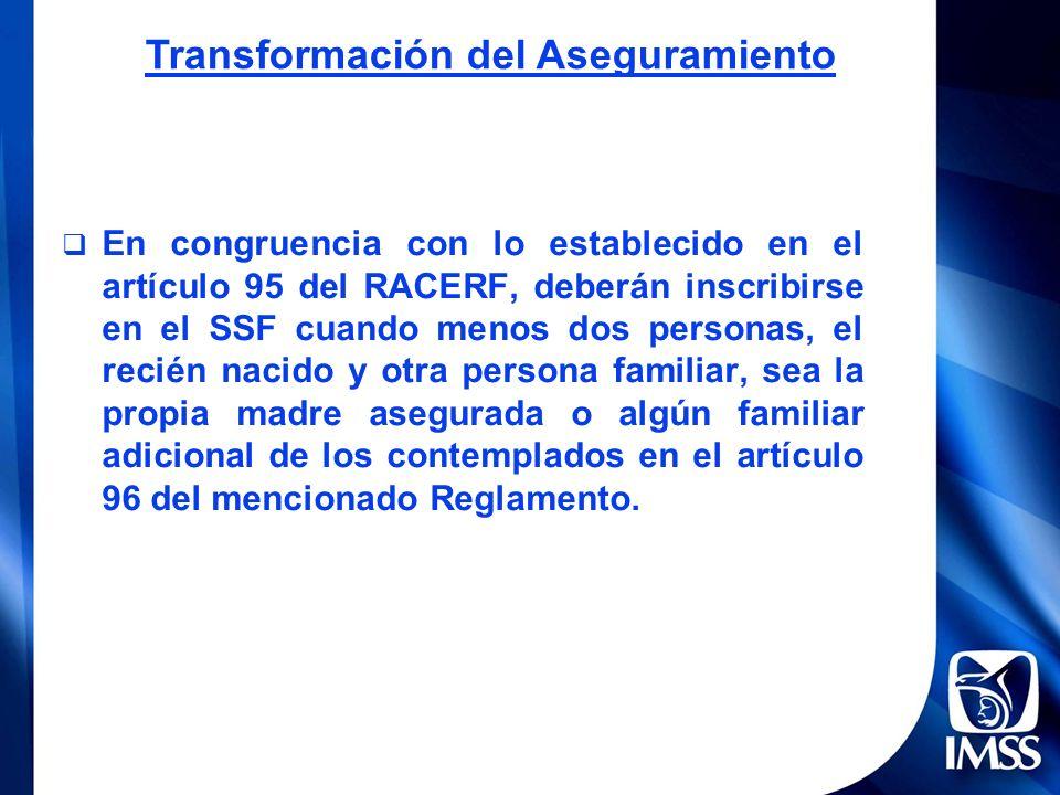 En congruencia con lo establecido en el artículo 95 del RACERF, deberán inscribirse en el SSF cuando menos dos personas, el recién nacido y otra perso