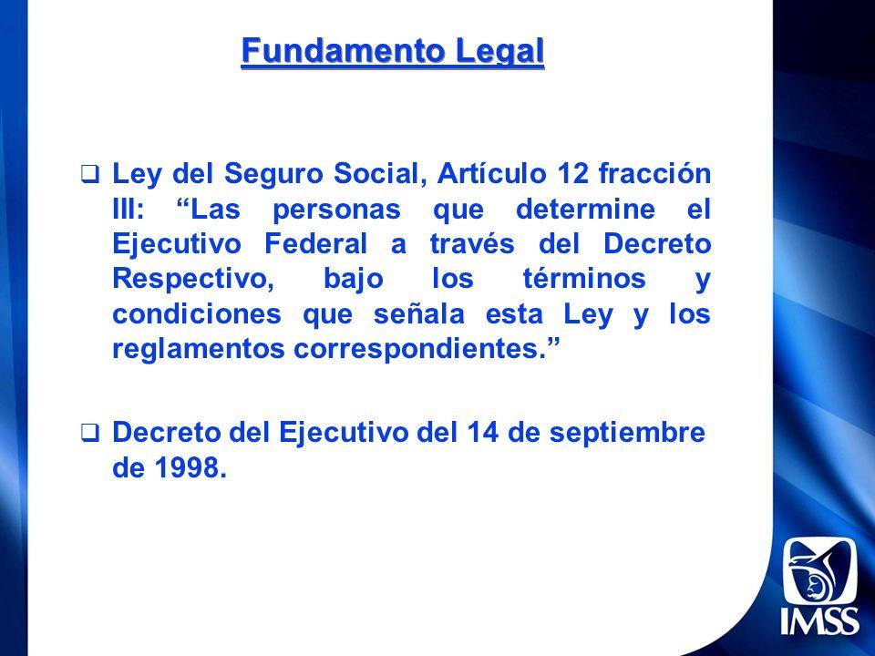 Ley del Seguro Social, Artículo 12 fracción III: Las personas que determine el Ejecutivo Federal a través del Decreto Respectivo, bajo los términos y