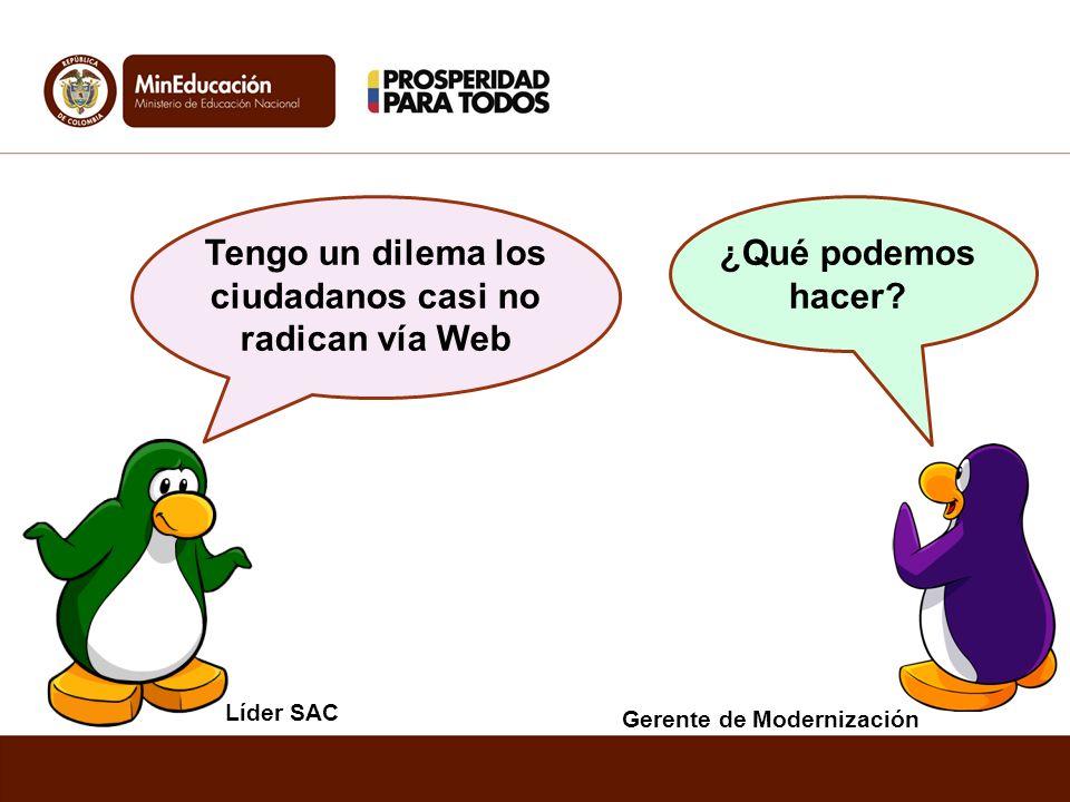 Líder SAC Gerente de Modernización ¿Qué podemos hacer? Tengo un dilema los ciudadanos casi no radican vía Web