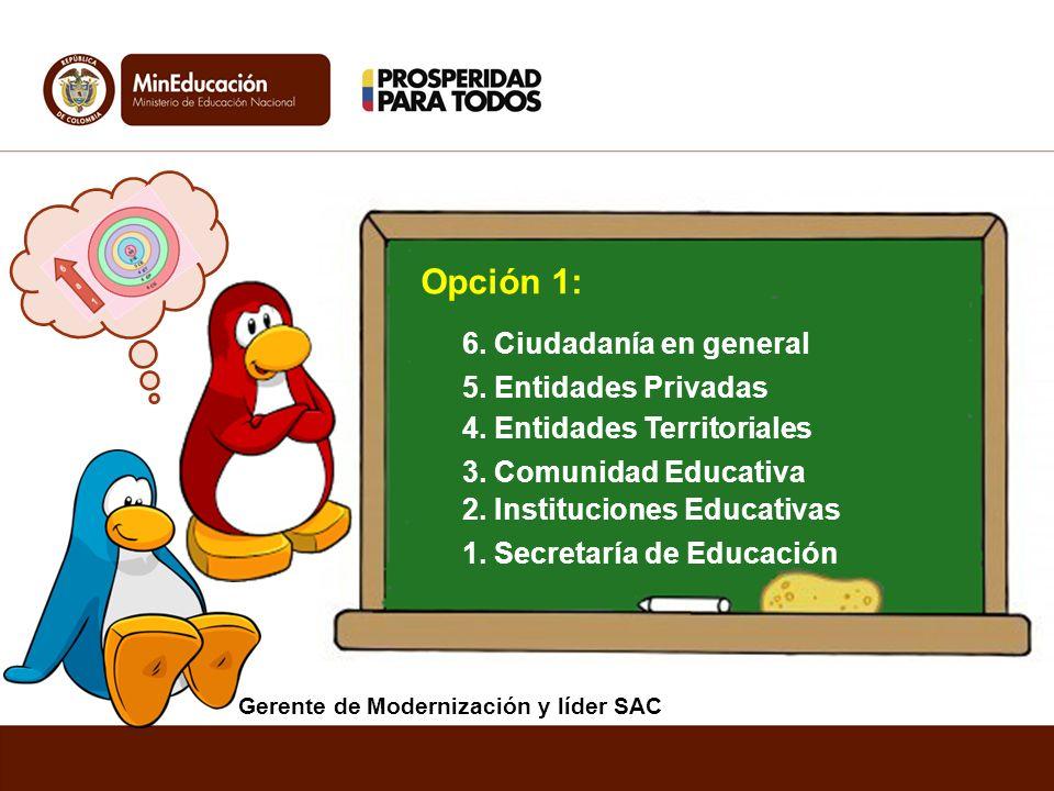 1. Secretaría de Educación Opción 1: 5. Entidades Privadas 2. Instituciones Educativas 4. Entidades Territoriales 6. Ciudadanía en general 3. Comunida