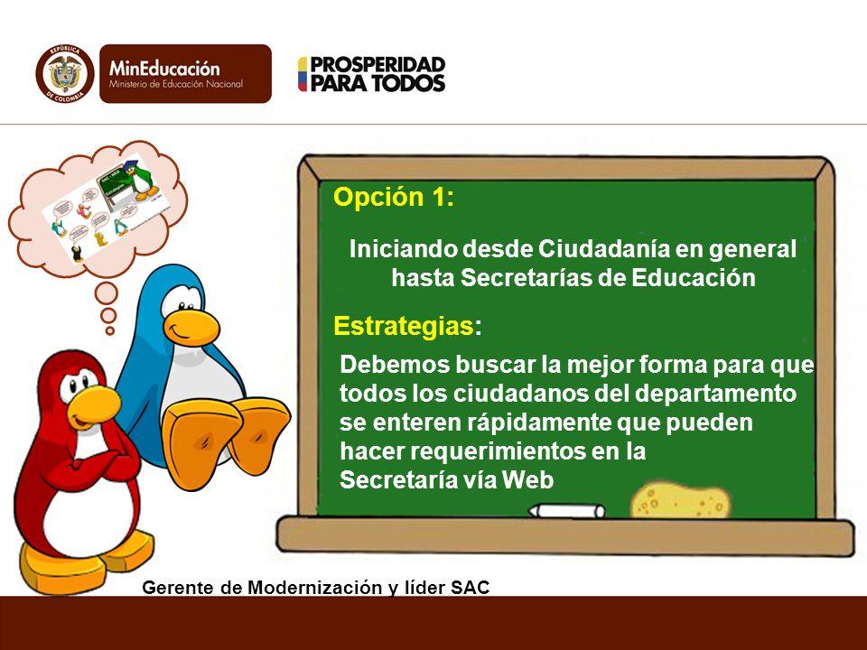 Opción 1: Estrategias: Iniciando desde Ciudadanía en general hasta Secretarías de Educación Debemos buscar la mejor forma para que todos los ciudadano