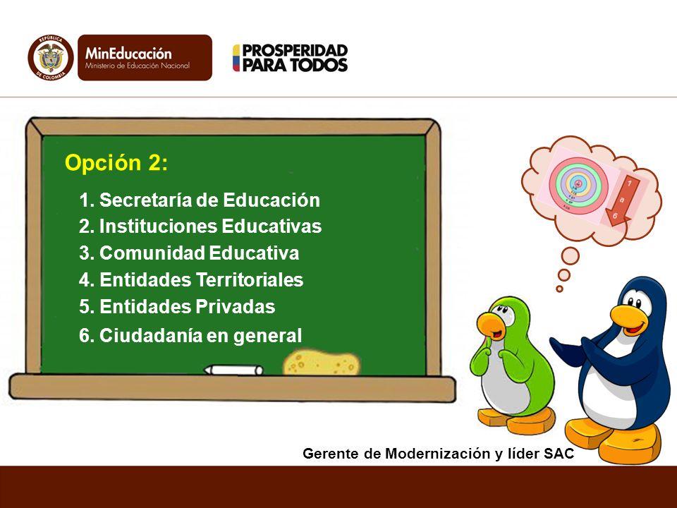 1. Secretaría de Educación Opción 2: 5. Entidades Privadas 2. Instituciones Educativas 4. Entidades Territoriales 6. Ciudadanía en general 3. Comunida