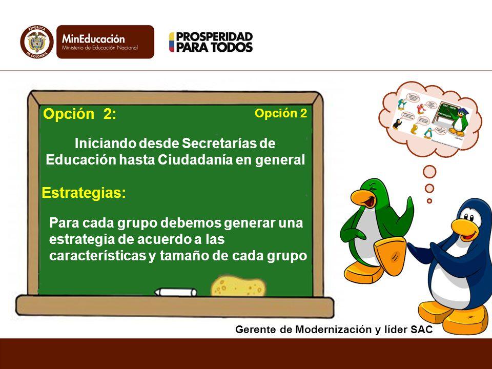 Opción 2: Estrategias: Iniciando desde Secretarías de Educación hasta Ciudadanía en general Para cada grupo debemos generar una estrategia de acuerdo
