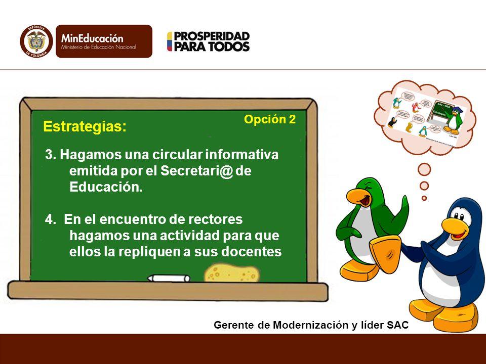 3. Hagamos una circular informativa emitida por el Secretari@ de Educación. 4. En el encuentro de rectores hagamos una actividad para que ellos la rep