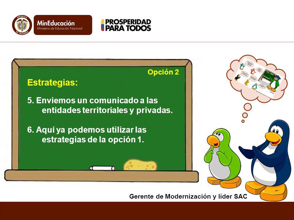 5. Enviemos un comunicado a las entidades territoriales y privadas. 6. Aquí ya podemos utilizar las estrategias de la opción 1. Estrategias: Opción 2