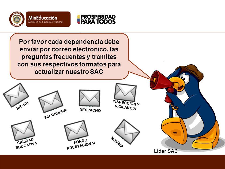 Líder SAC Por favor cada dependencia debe enviar por correo electrónico, las preguntas frecuentes y tramites con sus respectivos formatos para actuali