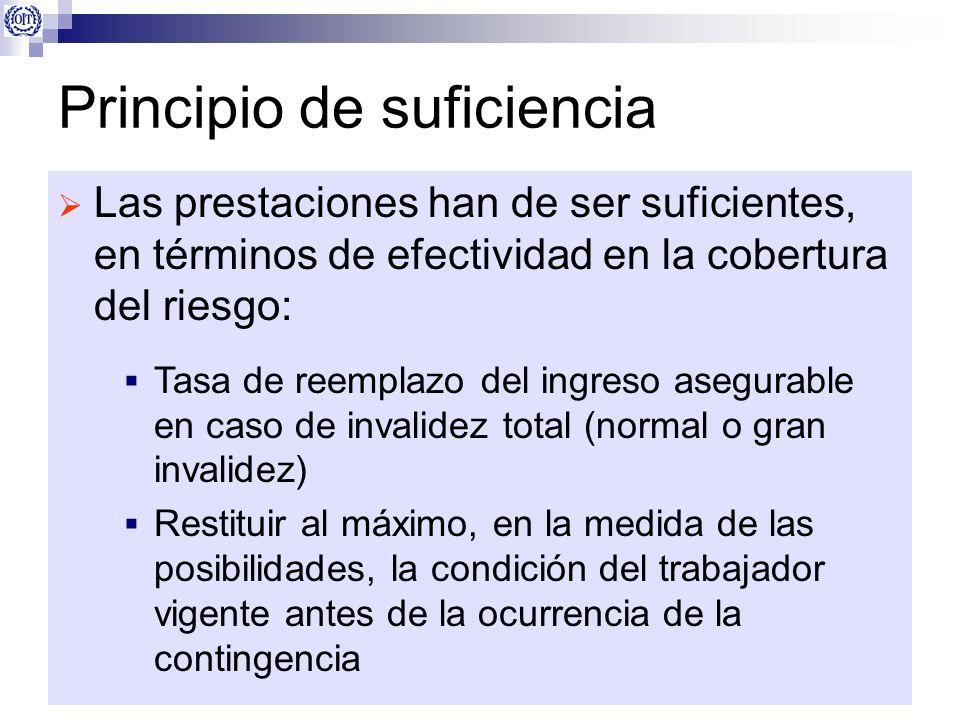 Principio de suficiencia Las prestaciones han de ser suficientes, en términos de efectividad en la cobertura del riesgo: Tasa de reemplazo del ingreso