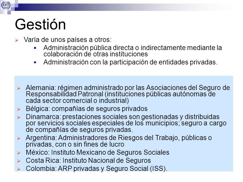 Gestión Varía de unos países a otros: Administración pública directa o indirectamente mediante la colaboración de otras instituciones Administración c