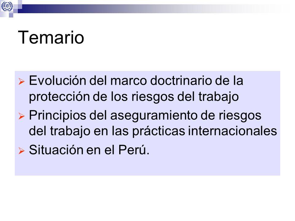 Temario Evolución del marco doctrinario de la protección de los riesgos del trabajo Principios del aseguramiento de riesgos del trabajo en las práctic