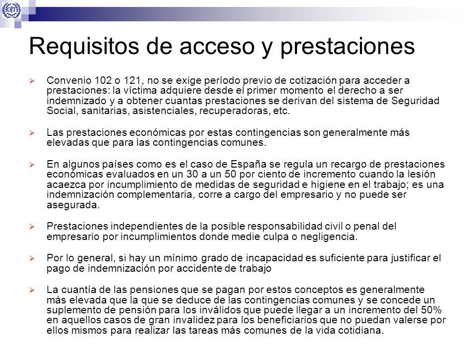 Requisitos de acceso y prestaciones Convenio 102 o 121, no se exige período previo de cotización para acceder a prestaciones: la víctima adquiere desd