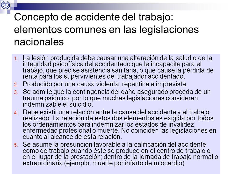 Concepto de accidente del trabajo: elementos comunes en las legislaciones nacionales 1. La lesión producida debe causar una alteración de la salud o d