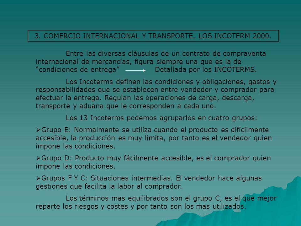 3. COMERCIO INTERNACIONAL Y TRANSPORTE. LOS INCOTERM 2000. Entre las diversas cláusulas de un contrato de compraventa internacional de mercancías, fig