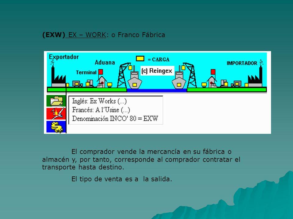 (EXW) EX – WORK: o Franco Fábrica El comprador vende la mercancía en su fábrica o almacén y, por tanto, corresponde al comprador contratar el transpor