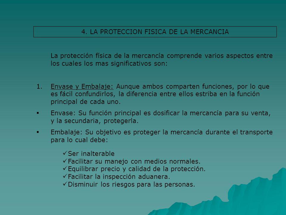 4. LA PROTECCION FISICA DE LA MERCANCIA La protección física de la mercancía comprende varios aspectos entre los cuales los mas significativos son: 1.
