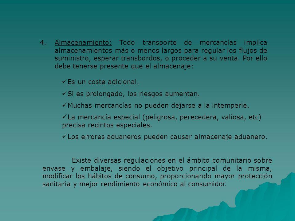 4.Almacenamiento: Todo transporte de mercancías implica almacenamientos más o menos largos para regular los flujos de suministro, esperar transbordos,